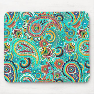 Colorful Retro Paisley Mouse Pad