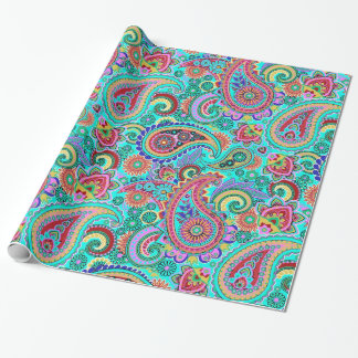 Colorful Retro Paisley Pattern Wrapping Paper