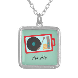 Colorful Retro Portable 45 Turntable Record Player Silver Plated Necklace