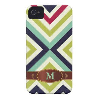 Colorful Retro Stripe Monogram Pattern iPhone 4 Cover