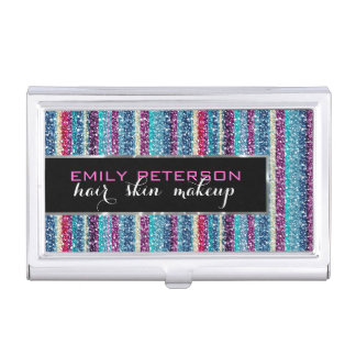 Colorful Retro Stripes Glitter Pattern 3 Blue Tint Business Card Holders