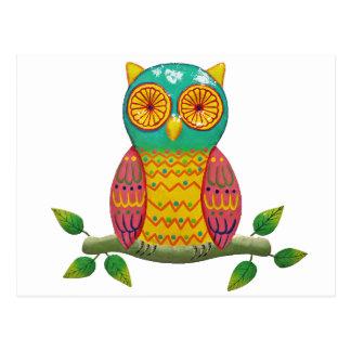 colorful retro style owl design postcard