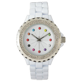 Colorful Retro Style Star Burst Atomic Spheres Wrist Watch