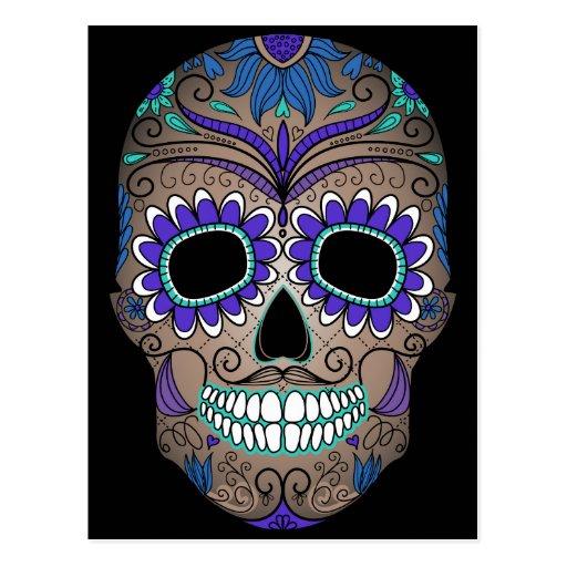 Colorful Retro Sugar Skull Post Cards