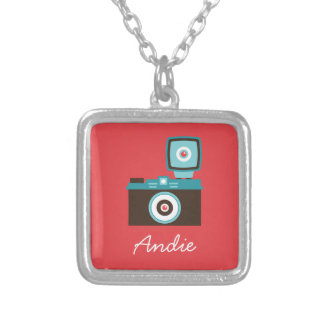 Colorful Retro Toy Camera (Red / Brown / Blue) Silver Plated Necklace