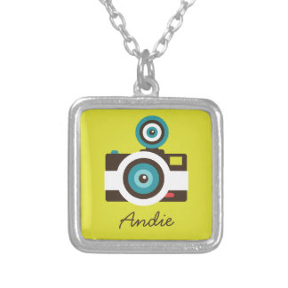Colorful Retro Toy Camera (White / Brown / Yellow) Silver Plated Necklace