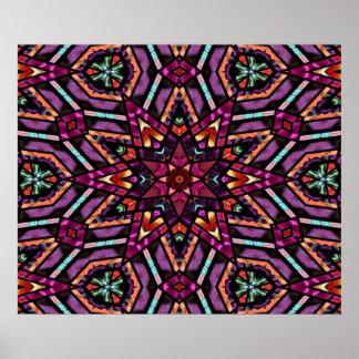 Colorful Retro Turkish Mosaic Kaleidoscope Pattern Posters