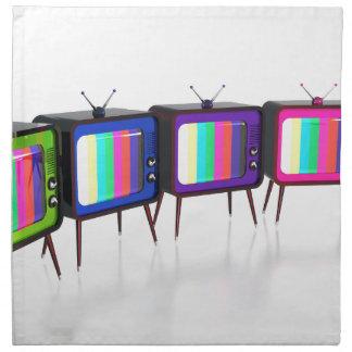 Colorful retro tv's napkin