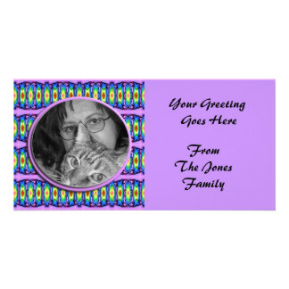 colorful ribbons photoframe photo greeting card