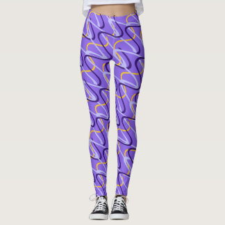 Colorful ribbons twirled on purple background leggings