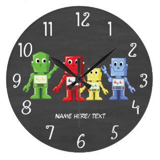 Colorful robots illustration large clock