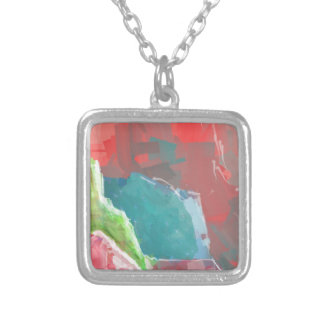 Colorful Rock  Formations Square Pendant Necklace