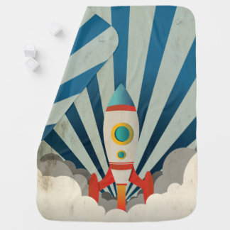 Colorful Rocket w/ Blue Rays and White Smoke Baby Blanket