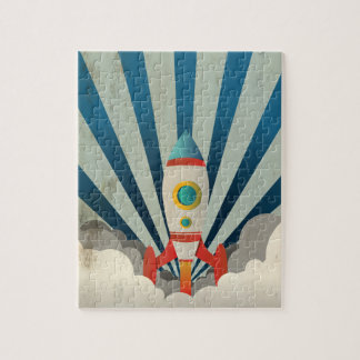 Colorful Rocket w/ Blue Rays and White Smoke Jigsaw Puzzle