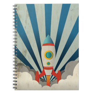 Colorful Rocket w/ Blue Rays and White Smoke Spiral Notebook