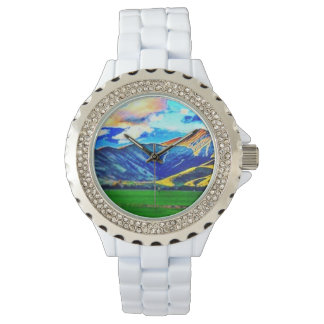 Colorful Rolling Mountains Rhinestone Watch