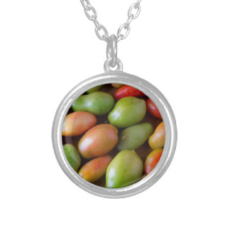 Colorful_Roma_Tomatoes Silver Plated Necklace