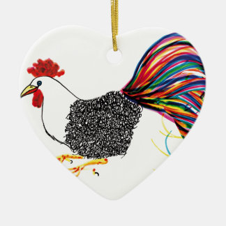 Colorful Rooster Ceramic Heart Decoration