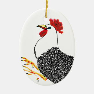 Colorful Rooster Ceramic Oval Decoration