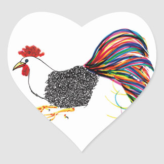 Colorful Rooster Heart Sticker