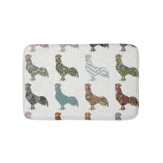 Colorful Rooster Pattern Bath Mat