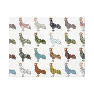 Colorful Rooster Pattern Canvas Print