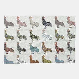 Colorful Rooster Pattern Tea Towel