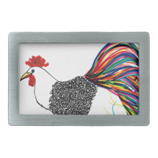 Colorful Rooster Rectangular Belt Buckles