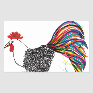 Colorful Rooster Rectangular Sticker