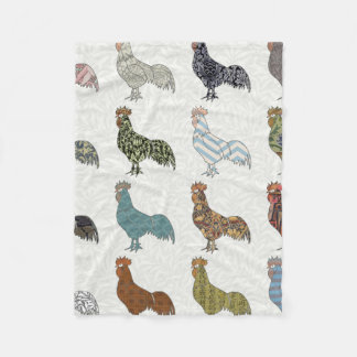 Colorful Rooster Retro Pattern Fleece Blanket