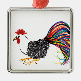 Colorful Rooster Silver-Colored Square Decoration