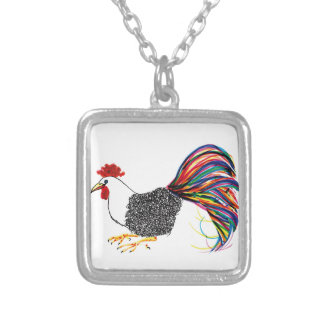 Colorful Rooster Silver Plated Necklace