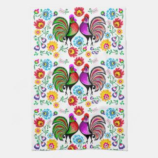 Colorful Roosters Boho Pattern Tea Towel