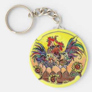 COLORFUL ROOSTERS by SHARON SHARPE Keychains