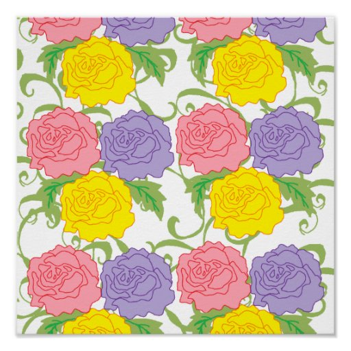 Colorful Roses and Vines Print