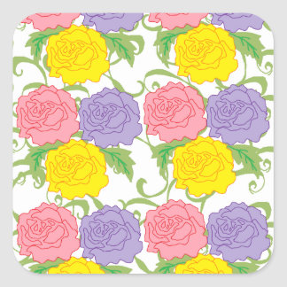 Colorful Roses and Vines Square Sticker
