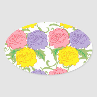 Colorful Roses and Vines Oval Sticker