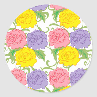 Colorful Roses and Vines Round Sticker