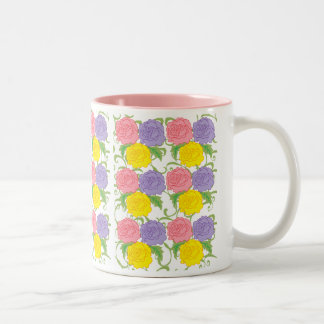 Colorful Roses and Vines Two-Tone Mug