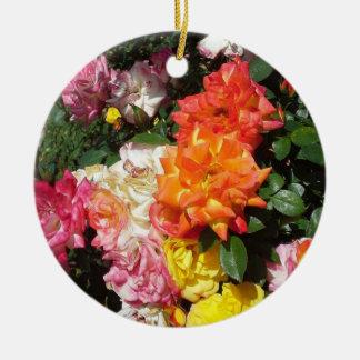 Colorful Roses Round Ceramic Decoration