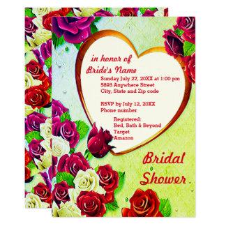 Colorful Roses & Heart Frame Bridal Shower Card