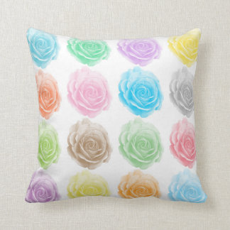Colorful roses pattern throw pillow