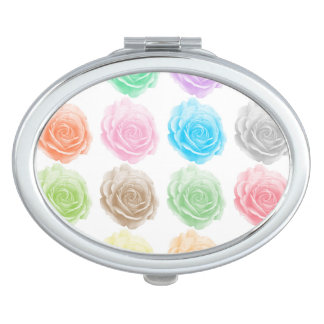 Colorful roses pattern travel mirrors
