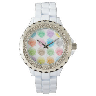 Colorful roses pattern wristwatch