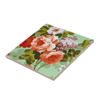 Colorful Roses Small Square Tile