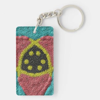Colorful rough texture Double-Sided rectangular acrylic key ring