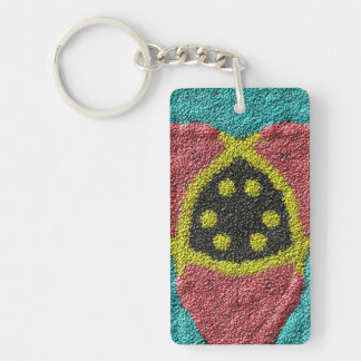 Colorful rough texture Double-Sided rectangular acrylic keychain