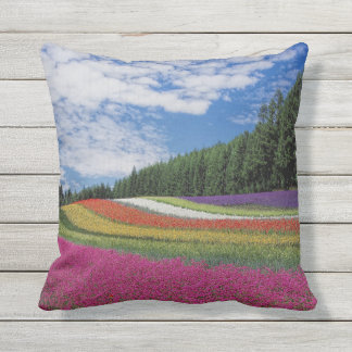 Colorful Rows of Flowers Tree Outdoor Throw Pillow