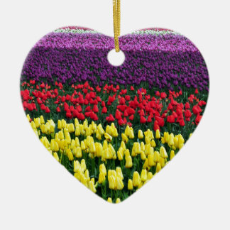 Colorful rows of spring tulips ceramic heart decoration