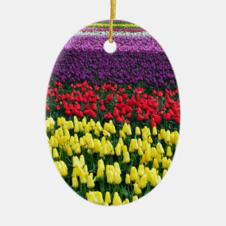 Colorful rows of spring tulips christmas ornaments